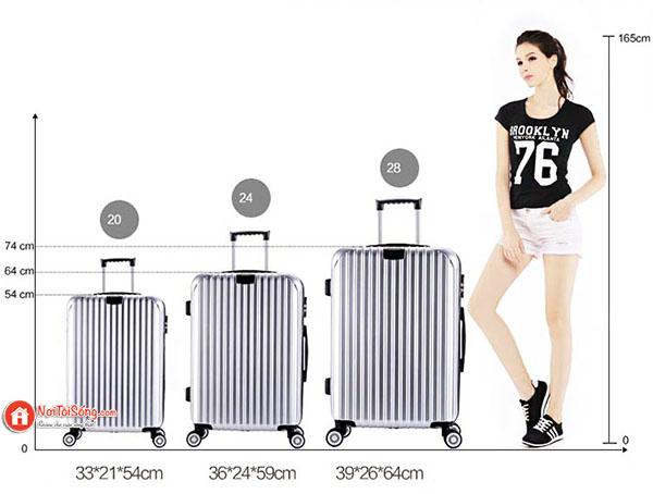 cách chọn kích thước vali kéo