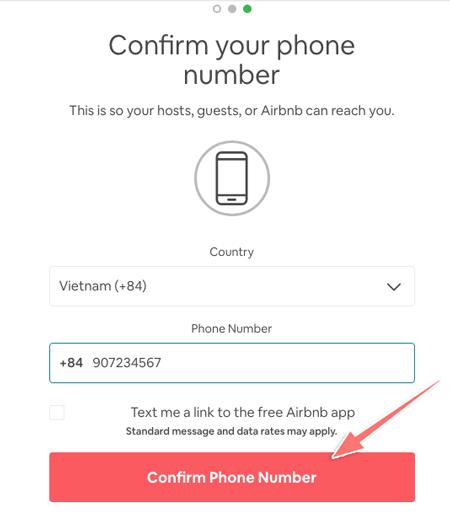 xác minh số điện thoại với airbnb