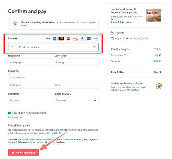 cách thanh toán khi đặt phòng trên airbnb