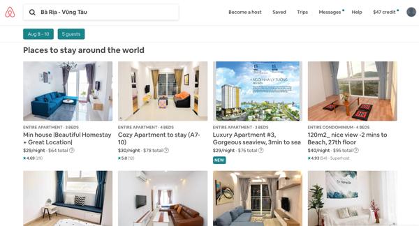 cách sử dụng bộ lọc trên airbnb để đặt phòng