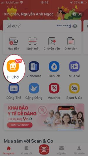 cách đi chợ online vinmart trên ứng dụng vinid