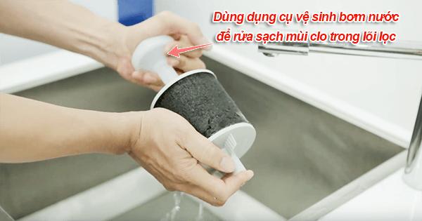 cách khử mùi clo trong máy lọc pureit 9l