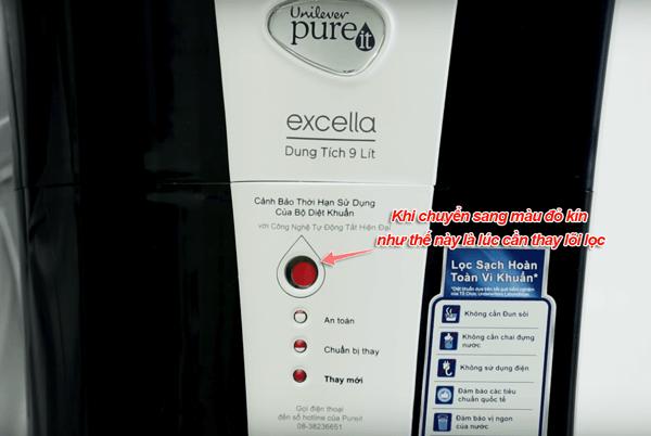 hệ thống cảnh báo thay lõi lọc của máy lọc nước pureit 9 lít