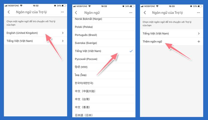 cài đặt tiếng Việt cho ứng dụng Google Home