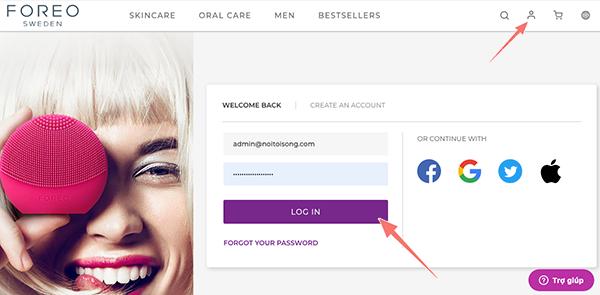 đăng nhập tài khoản trên website foreo
