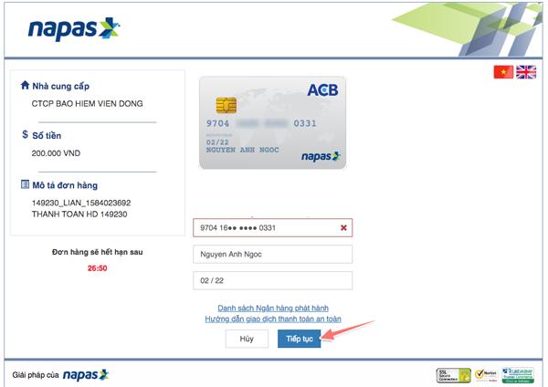cách thanh toán khi mua bảo hiểm corona online
