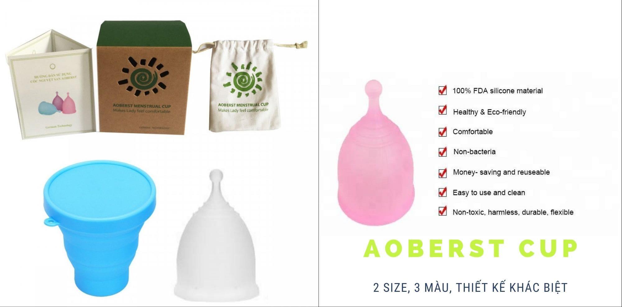 Cốc nguyệt san Aoberst - 2 size 3 màu, thiết kế khác biệt