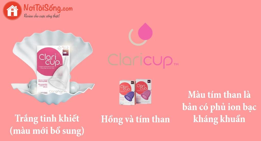 Cốc nguyệt san Claricup có mấy màu?