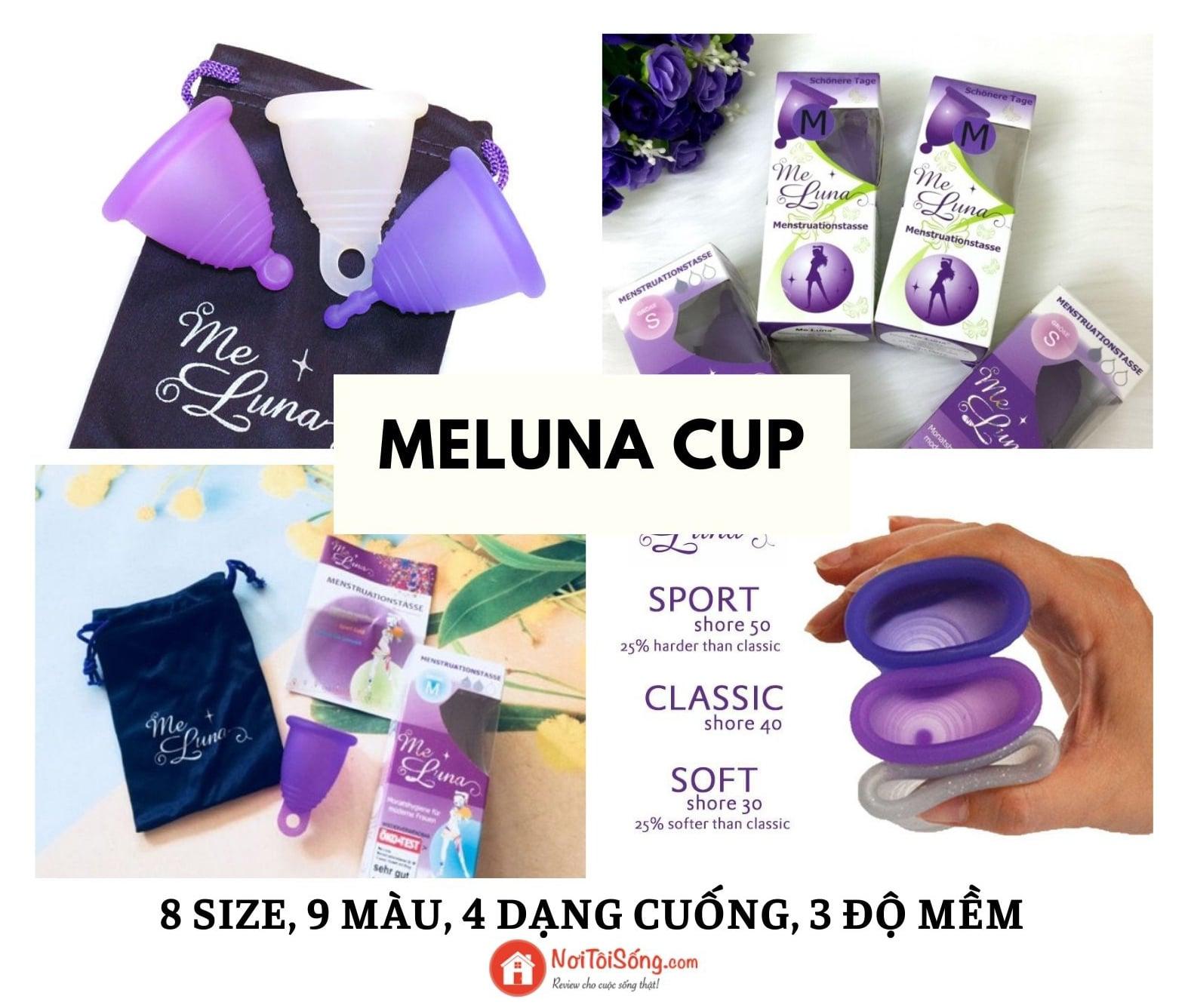 Cốc nguyệt san MeLuna - 8 size, 9 màu, 4 dạng cuống cốc, 3 độ mềm