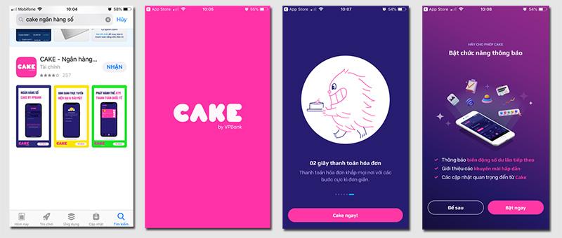 tải và cài đặt ứng dụng ngân hàng số cake